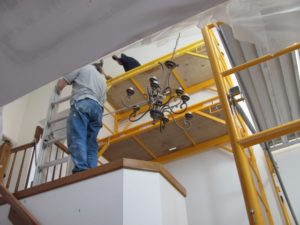 popcorn ceiling removal scaffolding upper view