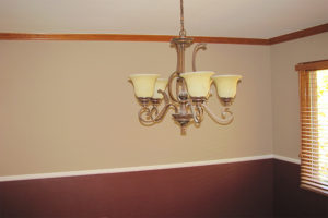 Tan and Crimson Accent Wall Interior Painting