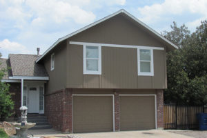 Medium Brown White Trim Brick Exterior Paint