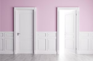 Purple walls and white doors.
