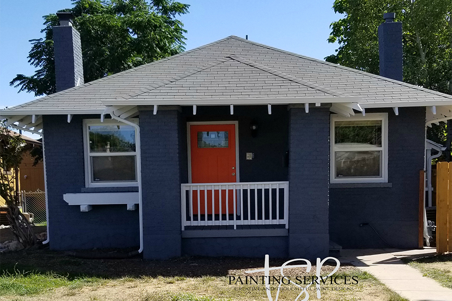 Bronco blue and orange exterior brick house restoration and repaint.