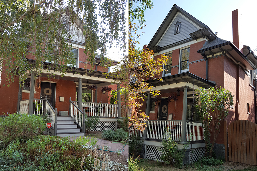 Exterior painting and restoration of a brick home with A-line roof and lattice porch.
